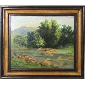 ANTENOR FINATTI, Paisagem, OSM, ACIE, 38 x 47cm (medidas da pintura). Datado 1967