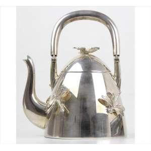 Bule de prata-de-lei, contraste do prateiro Raddi, ornamentado com libélulas em relevo. Alt. 17 x 13 x 10cm. Itália, séc. XX