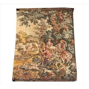 Tapeçaria decorada com figuras medievias, 140 x 96cm = 1,35m2