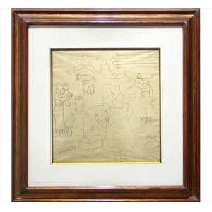 CANDIDO PORTINARI, Festa de São João, desenho à grafite sobre papel, 38 x 36cm, sem assinatura 1936 (acompanha certificado de autenticidade do Projeto Portinari, inscrito sob o nr. 1492-A)