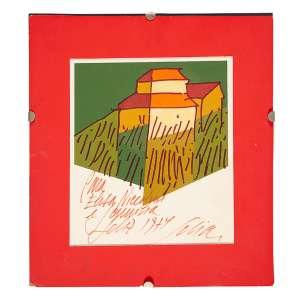 """CARLOS SCLIAR - """"Paisagem"""" - Gravura a.c.i.d 1974 – 23 x 21 cm – Dedicatória na tela<br />"""