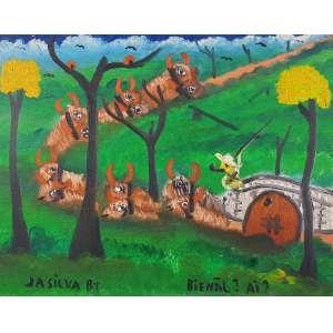 "JOSÉ ANTONIO DA SILVA (JASILVA) - ""Carro de boi""; - OST a.c.i.e. 1987 – 40 x 50 cm<br />"