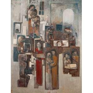 """DARIO MECATTI - """"Composição Figurativa"""" - Óleo sobre madeira n.a S/D – 200 x 153 cm – No estado.<br />"""