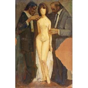 """DARIO MECATTI - """"Composição Figurativa – Mulher e Dois Homens"""" - Óleo sobre cartão n.a S/D – 39,5 x 26 cm – No estado.<br />"""