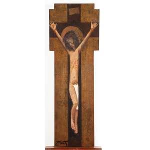 """DARIO MECATTI - """"Crucificação"""" - Óleo sobre madeira a.c.i.e S/D – 70 x 25 cm<br />"""