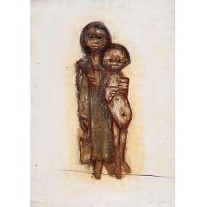 """DARIO MECATTI - """"Composição Figurativa"""" - OSM a.c.i.d S/D – 54 x 20 cm – No Estado<br />"""