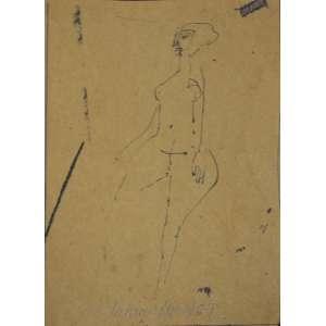 ALDEMIR MARTINS - Mulher – Desenho - 16 x 12 cm - 1987 – assinado - Certificado