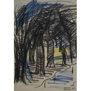 MARIO ZANINI - Bosque - Pastel - 30x20cm - 1965 - assinado
