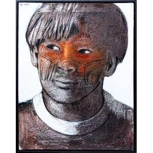 ELON BRASIL - Retrato de Índio - Óleo Sobre tela - 85 x 60 cm - Assinado superior esquerdo