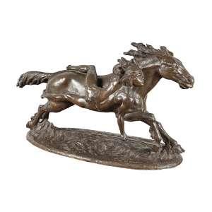 """HUMBERTO COZZO – """"Índio à Cavalo"""" – Escultura em Bronze Assinado na Base 1935 – Com marca da Fundição Zani, Rio de Janeiro- medindo 98x53x33cm"""