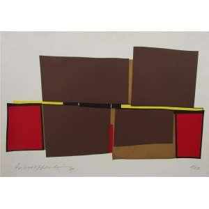 SILVIO OPPENHEIM - Composiçõa Abstrata Marrom - Gravura - 50 x 70 cm - Assinado inferior esquerdo