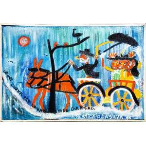 José Antonio da Silva - Chove Chuva Para Lavar Meu Coração - Óleo sobre tela - 1973 - 40 x 60 cm - Assinado inferior direito e verso