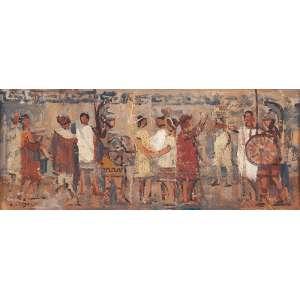 DARIO MECATTI - Cena Egípcia - Óleo sobre Cartão a.c.i.e SD – 20 x 45 cm - Acompanha certificado de autenticidade e procedência da família.