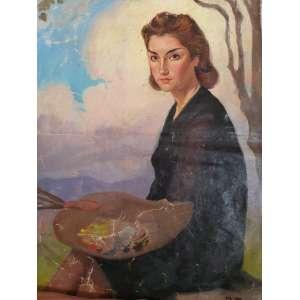 DARIO MECATTI - O.S.T. - Retrato da Maria da Paz - 84x63 cm - Obra está sem chassis - Acompanha certificado de autenticidade e procedência da família.
