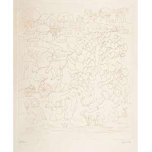 Tarsila do Amaralcrianças no vilarejo, 57x,44 cm água -, forte ass inf ,dir 1970 Exemplar n: 11/100 registrado no Raisonne da Artista sob o código Gdoc011