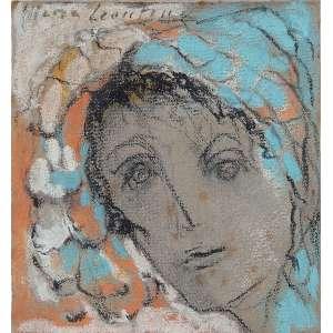 MARIA LEONTINA, Figura de moça - Pastel - 13,5x14,5 cm