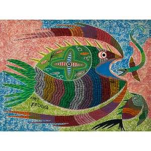 CHICO DA SILVA, Peixes - Óleo sobre tela - 54x69 cm - ACIE 1967