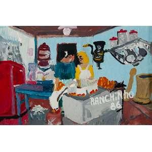 RANCHINHO, Interior de Cozinha -Óleo sobre tela colado em duratex - 40x60 cm - ACID 1986