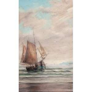BENEDITO CALIXTO, Barco ancorado sobre arrebentação de uma praia - Pastel - 47x29 cm - ACIE(Com expertise de Celso Calixto)Possivelmente da Década 1920)