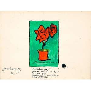 JOSE ANTONIO DA SILVA,Flores - Guache - 26x34 cm - ACIE 1974 (Com poesia do artista)