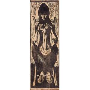 GLENIO BIANCHETTI, Moça trabalhando - Xilogravura - 41x17 cm - ACID 1957