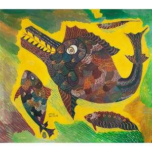 CHICO DA SILVA, Peixes- Guache sobre tela - 70x80 cm - ACIE1968 (Obra de período importante do Artista)