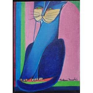 ALDEMIR MARTINS, Gato - Óleo sobre tela - 23x17 cm - ACID e VERSO 1971