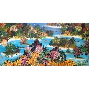 IRACEMA ARDITI,Lago com vegetação floral - Óleo sobre tela - 50x100 cm - ACID 1968