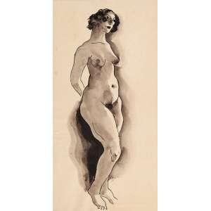 Ismael Nery - Nú - Desenho Nanquim - 22x12,5 cm - sem Ass: c/ altenticacao de Maria Lacerda no verso