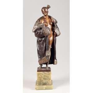 Bruno Zach - Bronze - elegante figura semi nua - 47 cm alt com a base - Ass: na base