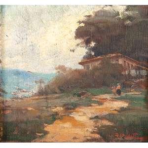 DARIO MECATTI - Paisagem de Minas Gerais - Óleo sobre madeira 17x18 cm - ACID<br />