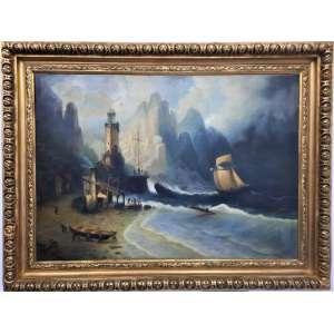 PINTURA - ESCOLA INGLESA - Magnifico quadro provavelmente de autoria inglesa representando marinha com farol em noite de tempestade, sec. XIX, com assinatura no CIE, não identificada. Medidas 1,42 x 1,00 )sem moldura) e 1,74 x 1,32 (com moldura)