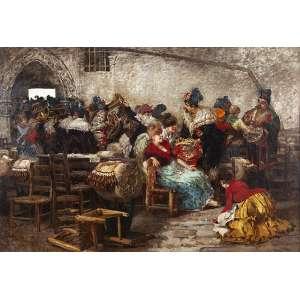 EGISTO LANCEROTTO (Artista Italiano , NÁPOLES, 1847 - VENEZA, 1916). A Festa. OST. Assinado. 131 x 184 cm. OBRA DE GRANDE DIMENÇÃO, DE ARTISTA IMPORTANTE NAPOLITANO - MUITO BEM EMOLDURADA.