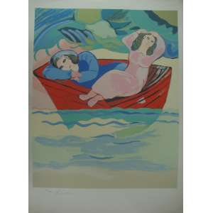CÍCERO DIAS - Mulheres no barco - Gravura - Tiragem 46/200 - 75x55cm - sem moldura