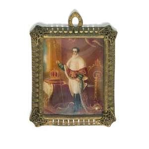 AUTOR NÃO IDENTIFICADO (século XIX) - D. Pedro I, Imperador do Brasil<br>miniatura s/ marfim<br>11,5 x 9 cm