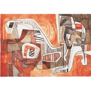 BURLE MARX, Roberto (1909 – 1994) - Mucuna<br>litografia em cores impressa s/ papel, ass., dat. 1987 inf. dir., tit. no centro inf. e com indicação PA inf. esq.<br>MI 44 x 64 cm / ME 59,5 x 80 cm