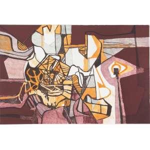 BURLE MARX, Roberto (1909 – 1994) - Clambônia<br>litografia em cores impressa s/ papel, ass., dat. 1986 inf. dir., tit. no centro inf. e com indicação PA inf. esq.<br>MI 41,5 x 63 cm / ME 59,5 x 79,5 cm