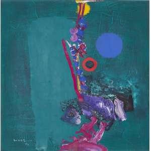 MABE, Manabu (1924 – 1997) - Ilusão de Verão<br>óleo s/ tela, ass., dat. 1994 inf. esq., ass., dat. 22/07/1994, tit. e ass. em japonês no verso<br>51 x 51 cm