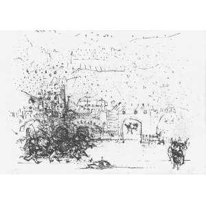 DAREL Valença Lins (1924 – 2017) - Vítima do Conflito<br>litografia impressa s/ papel, ass., dat. 1973 inf. dir., tit. centro inf., n. V/X inf. esq. e com etiqueta do Museu de Arte Moderna no verso<br>49,5 x 70,5 cm