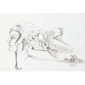 CHARIFKER, Guita (1936) - Sem Título<br>nanquim s/ papel colado em chapa de madeira industrializada, ass., dat. 1974 e sit. Olinda inf. esq.<br>51 x 74 cm