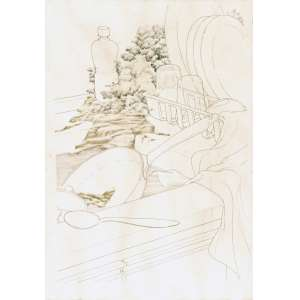 MARTINS, Wilma (1934) - Interior Cozinha<br>nanquim e aquarela sobre papel, ass. e dat. 1982 sup. esq.<br>59,5 x 44 cm