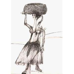 ALDEMIR Martins (1922 – 2006) - Mulher e Cesto<br>nanquim s/ cartão, ass., dat. 1983 na parte inf. e com etiqueta n. 10 da Galeria Realidade no verso<br>36,5 x 26 cm