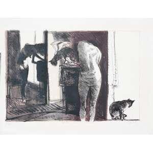 DAREL Valença Lins (1924 – 2017) - Gato em Bordel<br>litografia em cores impressa s/ papel, ass. inf. dir., tit. no centro inf. e n. 6/28 inf. esq.<br>MI 39 x 57,5 cm / ME 50 x 70,5 cm