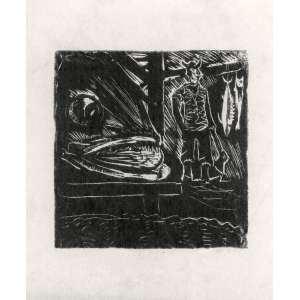 GOELDI, Oswaldo (1895 – 1961) - Mercado de Peixe<br>xilogravura impressa s/ papel, ass. inf. dir. e com indicação PA inf. esq.<br>Um exemplar reproduzido na p. 160 do livro Oswaldo Goeldi na Coleção Hermann Kümmerly, de Ferreira Gullar e Noemi Ribeiro (Rio de Janeiro: Papel & Tinta, 2005)<br>MI 14 x 13,5 cm / ME 23 x 19,5 cm