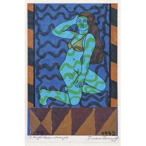 BRENNAND, Francisco (1927) - Sem Título<br>óleo s/ cartão, ass. inf. esq., dat. 1972 inf. dir., ass., dat. 1972 e com dedicatória a Moysés Braia no passepartout<br>30,7 x 20,9 cm