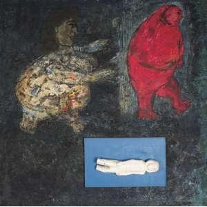 SANTE Scaldaferri (1928 – 2016) - A Fuga do Amor<br>encáustica s/ madeira e ex-voto colado, ass., dat. 1998 inf. dir., ass., dat. 1988, tit. e sit. Bahia no verso<br>129 x 129,5 cm