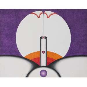 """DILLON, Osmar (1930 – 2013) - Androcosmos """"Gerar""""<br>acrílica s/ tela, ass., dat. 1970 inf. dir., com carimbo do XIX Salão Nacional de Arte Moderna – 1970 no verso, ass., dat. 1970 e tit. no chassi<br>88,5 x 114 cm"""