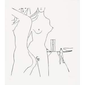 """NIEMEYER, Oscar (1907 – 2012) - Mulheres e Congresso<br>serigrafia impressa s/ papel, ass. inf. dir. e n. 27/100 inf. esq.; edição Galeria Anna Maria Niemeyer<br>Reproduzida na p. 72 do livro Niemeyer paroles d'architecte , de J. Petit (Paris: Fidia, 1997), na p. 18 do catálogo de exposição do artista, realizada na Rússia; na p. 58 do catálogo Gravuras de arquitetos modernistas na coleção Carlos Barroso (Rio de Janeiro: Museus Castro Maya, 2010); publicada na coluna de Ancelmo Góis, do jornal<br>""""O Globo"""", em 27 de maio de 2008<br>55 x 49,5 cm"""