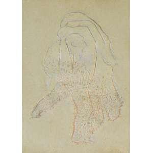 TUNGA (1952– 2016) - Da série Desenho n. 4<br>pastel-óleo s/ papel decalcado da matriz de impressão original para o cartaz da exposição da Galeria Saramenha, ass. com dedicatória a Wilton Montenegro inf. dir.<br>51,5 x 37,5 cm