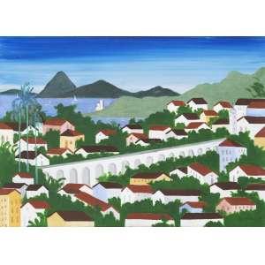 DJANIRA da Mota e Silva (1914 – 1979) - Vista do Rio com Arcos da Lapa<br>óleo s/ tela, ass., dat. 1974 inf. dir., ass. e dat. 1974 no verso<br>46 x 65 cm